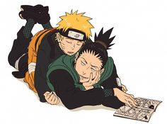 Sleeping Naruto and Shikamaru <3