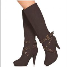 """NWOT! Heeled Strappy brown boot NWOT.  Tapered 5"""" heel knee high boots with stud & grommet adorned straps around ankle. These have only been tried on, they are new but without the box. Just Fabulous Shoes Heeled Boots"""