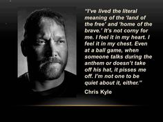 "Chris Kyle , or maybe better known to some as the author of ""American Sniper"" and inspiration for the movie American Sniper. If you havent seen the movie, its so powerful .P chris kyle Danny Dietz, Marcus Luttrell, Chris Kyle, Military Quotes, Marine Mom, Home Of The Brave, Thing 1, American Pride, American Flag"
