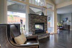 Fireplace for two rooms... nice!