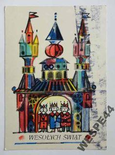 WESOLYCH SWIAT JERZY JAWOROWSKI 8639 Vintage Christmas Cards, Christmas Greetings, Polish Christmas, Polish Folk Art, Scandinavian Folk Art, Children's Book Illustration, Vintage Postcards, Arts And Crafts, Xmas