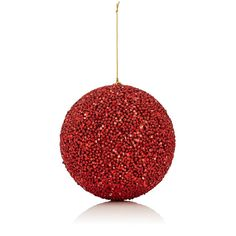 Gold Eagle USA Glitter-Embellished Beaded Medium Ball Ornament ($16) ❤ liked on Polyvore featuring home, home decor, holiday decorations, red, glitter ball ornaments, red ball ornaments and red home decor