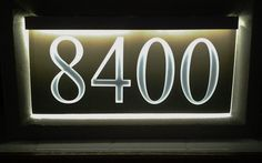 12v LED address sign. Custom printed modern, 3D style lettering in 6 lens colors and 3 top colors. Perfectly framed in a thin edge of light for a touch of class. Just hang and plug in to welcome friends, delivery or emergency services. Visit www.ezstreetsigns.net for more information