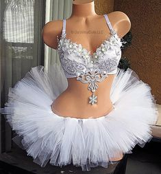 Silver White Winter Wonderland Rave Outfit  Rave Bra and
