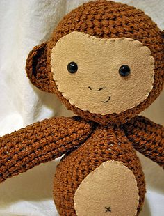 Monkey Toy - This pattern is available as a free Ravelry download  This cheeky little monkey is sure to be a favorite in your toy box! Measuring 12.5 inches tall he is just the right size for a hug.