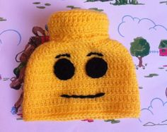 Lego head hat, available in all sizes, from newborn to adult! Crocheted in soft wool. Photography prop. All sizes available to order.