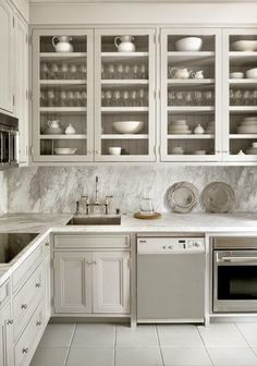 greige design, love a white kitchen especially matte. Love all cabinets, glass & closed. Kitchen Redo, New Kitchen, Kitchen Dining, Kitchen Remodel, Kitchen Ideas, Kitchen Slab, Country Kitchen, Beige Kitchen, Pantry Ideas
