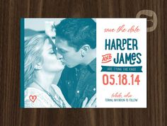 Playful Handwritten Teal and Coral Wedding Save the Date by ThirdofAugust