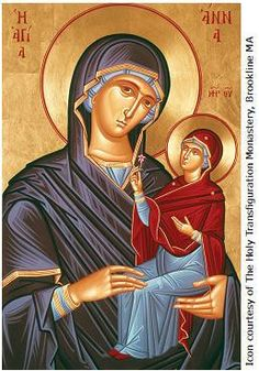 Anna mother of the Holy Theotokos (December Religious Images, Religious Icons, Religious Art, Orthodox Catholic, Catholic Saints, Roman Church, Religion, Jesus Christ Images, Santa Ana
