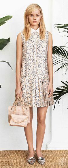Play up delicate florals with ultra-feminine bags and shoes   Tory Burch Spring 2014