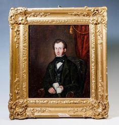 3/4 Pose, Interior - Antique Portrait Miniature of a Man with Book, Gesso & Wood
