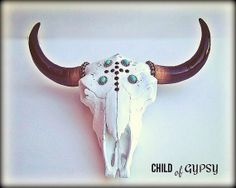 Decorative Cow Skull Head by ChildofGypsy on Etsy, $176.00