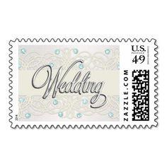Silver Wedding Aqua Mint Crystal Lace Pearl Postage