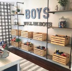 If I had boys, this space from would serve as major room inspo! From the buffalo check wallpaper to the metal & wood… If I had boys, this space from M+B Design would serve as major room inspo! From the buffalo check wallpaper to the metal & wood… Black Pipe Shelving, Diy Casa, Toy Rooms, Kid Playroom, Playroom Design, Playroom Decor, Kids Bedroom Boys, Playroom Organization, Boys Shared Bedroom Ideas