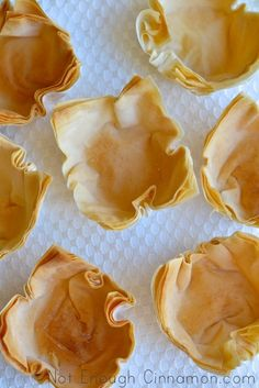 "How to Make Phyllo Cups {step-by-step recipe} ~ via this blog, ""Not Enough Cinnamon""."