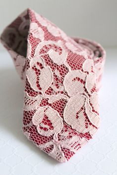Wine and Blush Lace Neck Tie by HandsomeAndLace on Etsy