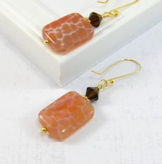 Peach Earrings Gold Earrings Dangle Earrings by JulieEllisDesigns