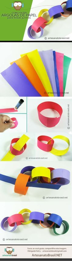 Argolas de papel para enfeitar festa junina -  /   Rings paper to adorn June Festival -