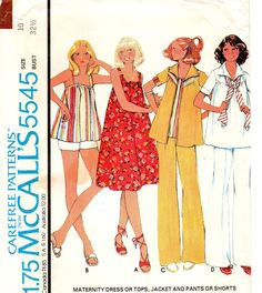 McCall's 5545 Misses Maternity Dress, Top, Jacket, Pants, Shorts Vintage Sewing Pattern Size 10 Bust 32 by patternmania on Etsy 70s Fashion, Vintage Fashion, Vintage Style, Kinds Of Clothes, Vintage Sewing Patterns, Maternity Dresses, Pattern Fashion, Dress Patterns, Vintage Outfits