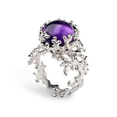 CORAL Purple Amethyst Ring Sterling Silver Amethyst Ring
