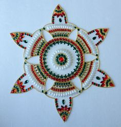 Diya-shaped Rangoli Floating Indian Traditional Kundan Sticking Kolam for Diwali
