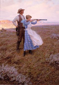 'Target Practice' by Tom Lovell need this kind of artwork in my house Gaucho, Cowgirls, Romance, Illustrations, Illustration Art, Tom Lovell, Target Practice, Cowboy Art, Le Far West