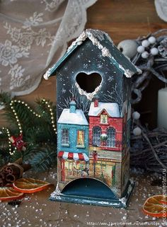 ad962aeec6b2252743d18230e91l--podarki-k-prazdnikam-domik-dlya-ch-paketikov (513x700, 326Kb) Christmas Home, Christmas Crafts, Christmas Decorations, Wood Crafts, Diy And Crafts, Paper Crafts, Christmas Decoupage, Hobby House, Pintura Country