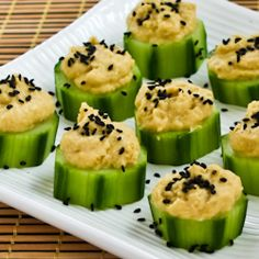 cucumber, hummus and sesame seeds