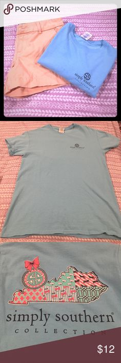 Simply Southern Kentucky shirt  Very cute and comfortable preppy Simply Southern shirt. Worn only a handful of times. Small stain at the bottom in the front of the shirt shown in 4th pictures. Open to trades. Tops Tees - Short Sleeve