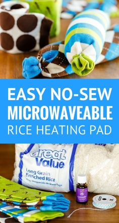 Easy No-Sew Rice Heating Pad -- these homemade microwaveable rice heating pads took less than 5 minutes to make, start to finish! Perfect for soothing sore muscles or warming up from the cold, especially when you add a few drops of essential oil… | rice heating pad sock | rice heating pad diy | homemade hot pack | rice heating pad instructions | rice heating pad tutorial | how to make a rice heating pad | find the tutorial on unsophisticook.com #easycrafts #essentialoils #nosew…