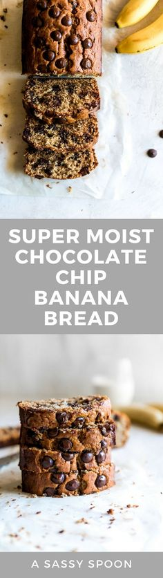 Super moist and deliciously sweet banana bread made with wholesome ingredients and dark chocolate chips! Perfect for breakfast or snack.