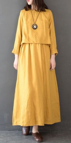 Vintage Women Linen Loose Maxi Dresses For Spring - Damen Mode 2019 Linen Dresses, Women's Dresses, Fashion Dresses, Dresses Online, Loose Dresses, Trendy Dresses, Casual Dresses, Mode Bollywood, Maxi Robes