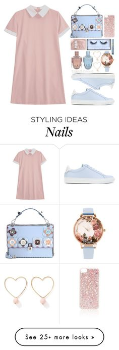 """""""Pink and Periwinkle"""" by xxfashiongirl12xx on Polyvore featuring Fendi, Ana Accessories, Givenchy, Huda Beauty, Olivia Burton, Topshop, Lapcos, Estée Lauder, Pink and glitter"""