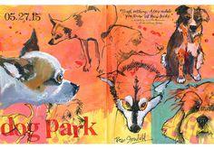 Journal Full - Strathmore Pass the Journal - Roz Stendahl Artist Journal, Artist Profile, Dog Park, Mixed Media Art, Book Art, Sketchbook Ideas, Watercolor, Journalling, Journal Inspiration