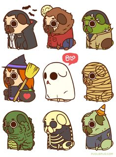 """pugliepug: """" HAPPY HALLOWEEN EVERYONE °˖ ✧ ∠(◉♔◉U 」∠)_ ✧ ˖ ° Halloween's this Friday, and Puglie's all too ready to dress up ;] """" Throwback to all the spoopy classic costumes Puglie had last year :3 What will the Halloween theme be this year? *poot*"""