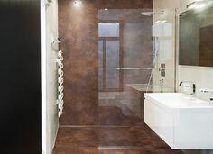 Brown & White Modern Bathroom With Finished Concrete Budget Bathroom, Bath Remodel, Kitchen And Bath, Decoration, Modern Bathroom, Bathtub, Architecture, Inspiration, Bathrooms