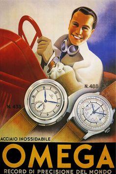 Brilliant Art Deco Omega poster, ca. 1930