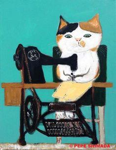 Sewing machine life, by Pepe Shimada #CatIllustration