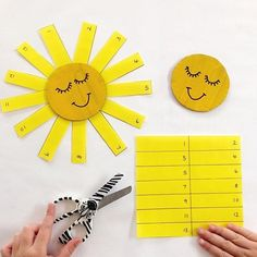 NUMBER ORDER || the sun was out today, making for a beautiful Melbourne day. This sunny activity is great for practising scissor skills and number ordering ☀️. Miss5 cut along the lines on the yellow paper, placed the rectangles in numerical order and then attached the rays of sunshine using sticking tape. This activity is great for practising number recognition, numerical ordering, hand eye coordination and fine motor skills. Weather Activities Preschool, Cutting Activities, Spring Activities, Kindergarten Activities, Preschool Activities, Preschool Curriculum, Preschool Learning, Homeschooling, Kids Educational Crafts