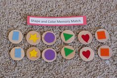 TODDLER TIME ACTIVITY: SHAPE AND NUMBER MATCH = make sure wooden disks (from ACMoore) are large enough to avoid a choking hazard. Shapes can be cut out of felt or cardstock.