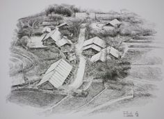 Fountain pen on paper. Ballpoint Pen Art, Landscape Sketch, Fountain Pen, Mount Rushmore, Image Search, Paper Size, Vietnam, Nature, Landscapes