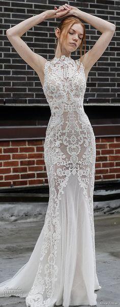 adam zohar 2017 bridal sleeveless jewel neck full embellishment elegant sheath wedding dress open v back sweep train (5) mv -- Adam Zohar 2017 Wedding Dresses