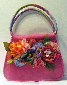 Little felt purse with flowers by Paula Nelson-Hart