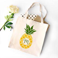 Pineapple Monogram Canvas Tote Bag