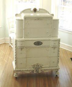 LOVE IT ... Antique Ornate Dresser White Shabby Chic by seasidefurnitureshop, $875.00