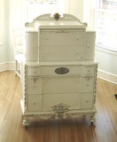 Antique Ornate Furniture White Shabby Chic Dresser. $995.00, via Etsy.
