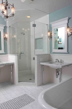 walls on both sides of shower