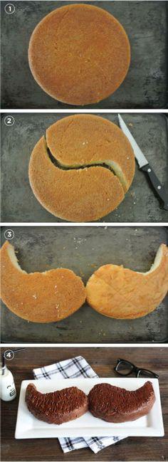 Torta de mustache. Hay que hacer un biscochuelo común, después cortarlo como si fuera un ''Yin y Yang'', luego acomodarlos y cubrirlos con chocolate derretido :)