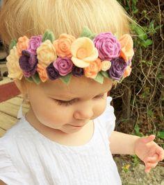 NEW Felt cluster flower crown with green by LittleBloomsandBows