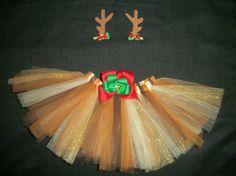 Christmas tutu Reindeer tutu set with antler bows by CatyRoseBows, $28.00